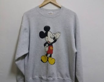 Vintage Mickey mouse sweatshirt big picture clour/grey/large/made in usa/animation/hiphop