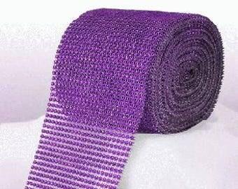 Diamante Effect  Cake Mesh Ribbon – Purple x 1m
