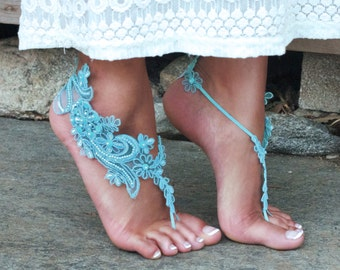 Island Blue Lace Barefoot Sandals LISA Something Blue Foot Accessory Bride to Be Present Gift Fiance Daughter Sister Best Friend Tropical