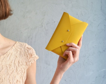 Yellow leather pouch / Yellow leather wallet / Yellow envelope pouch / Yellow leather iphone case / Mini leather clutch / Makeup bag