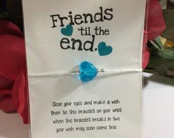 Friends till the End TEAL heart String Friendship Wish Bracelet | Gift | Anklet | Party Favors