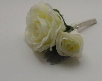 wedding buttonhole boutonniere silk buttonhole rose buttonhole rose boutonniere ivory buttonhole grooms buttonhole bestman buttonhole