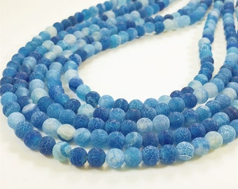 6mm Frosted Agate Beads, Blue Agate Beads, Gemstone Beads, Wholesale Beads
