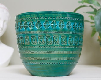 Aldo Londi for Bitossi:  Large Vintage Italian Ceramic Plant Pot / Planter in Rimini Green