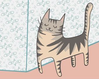 Crazy Post Card grey grey tabby cat tabby famale cute cute cat/postcard