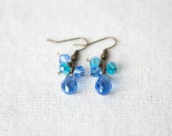 SALE *Blue glass earrings, teardrop earrings* 50% OFF