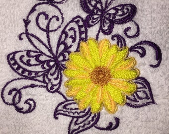 Embroidered Hand Towel- Purple BUTTERFLIES with Yellow Flower- HS0254