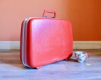 """Cherry Red Samsonite Suitcase, Retro 20"""" Hard Sided Suitcase, Wedding Card Case, Vintage Luggage Suitcase Decor"""