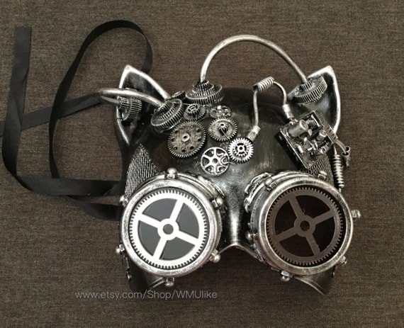 Cat Masquerade Ball Mask Steampunk Gear Metallic Black Gold Silver Cat Mask by WMUlike