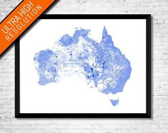 Waterways of Australia map art   Printable Australia map print, Australia print, Australia poster, Australia art, Australia wall art gift