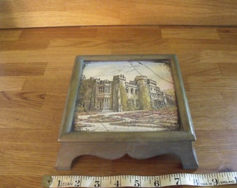 Brass Pot stand Trivet with Stately Home Castle Tile