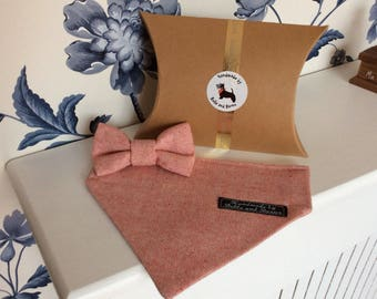 Beautiful Lightweight Wool Dog Bandana and Bow Tie Gift Set by Bella and Barns, All Handmade