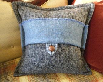 Harris Tweed Cushion, Blue herringbone