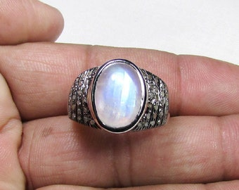 0.64 CT Pave Diamonds 925 Sterling Silver Natural Moonstone Ring, Size- 10.75 US-ET-R007