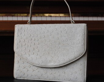 1960 ostrich print leather bag