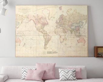 World Map Canvas, Large World Map, Map of the World, Map of World, World, World Map, Map of the United States, Canvas Map, Canvas Art, 170