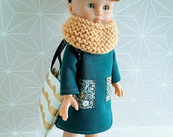 Doll clothes of sweethearts of corolla 33cm - teal blue / mustard.