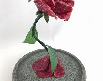 Crystallized Enchanted Rose Life Size Inspired by Beauty and the Beast RED