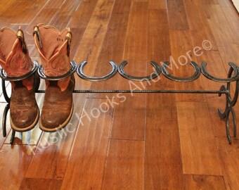 Horseshoe Boot Rack. Three Pair Boot Rack.