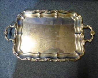 Vintage Large Rectangle Silver-Plated Tray