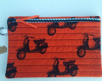 moped scooter tablet zipper bag, vespa scooter ipad pouch, moped zipper clutch, kindle fire case tablet sleeve, scooter zipper pouch
