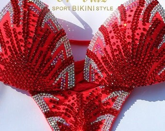 Orange& Red Metallic Spandex Bikini Suit with Crystals/Competition Suit/Posing Suit/Rhinestone Fitness