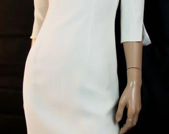 White Dress, White Party Dress, Wedding Dress, Ivory White Dress, Chic Dress, Fine Satin Lined, Tube Dress ' 60 Style, Tight Dress, Size XS,