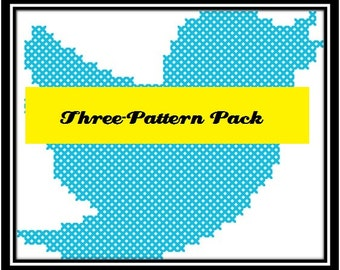 Social Media Counted Cross-Stitch Three-Pattern Pack