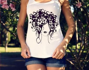 Floral Curly Hair Woman-Pretty Hair Girl-DIY Iron On-Shirt-Tank-Vinyl Decal-Car Decal-Tumbler-Waterbottle