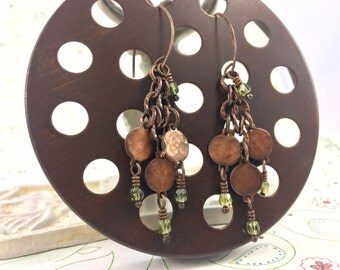 Bright Green Rustic Earrings. Grecian Inspired. Hand Forged Copper. Hammered. Large Tribal Earrings. Shoulder Dusters. Greek Goddess Jewelry
