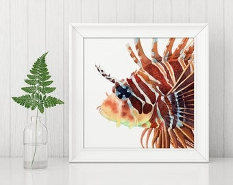 Lionfish, fish, sea life, ocean, watercolour print