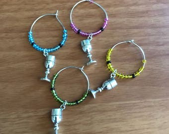 Wine glass wine charms (set of 4)