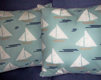 "Set of 2 Pillow Covers 18"" Square Sailboats aqua teal blue navy white"