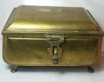 Antique Victorian Solid Brass Jewellery Box