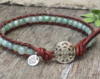 Jade Gemstone Single Wrap Leather Anklet with Lotus Flower Charm