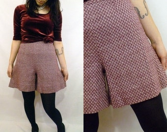 1970s Wool Shorts | Maroon and White Diamond Criss-Cross Knit High Waisted Wide Leg Short