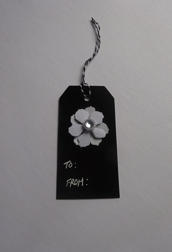 Luxury Handmade Gift Tags - Black and White Tag with Flower - 2A