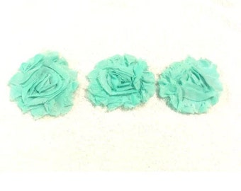 "Terquoise Gorgeous Shabby Frayed Chiffon Flower Rosettes 3 x 2.5"", hair bands, clips, crafts etc"
