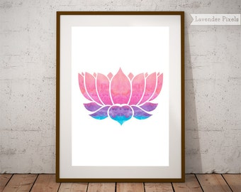 Yoga poster print Lotus wall art Printable yoga art Housewarming gift Yoga artwork posters Yoga studio gift Zen yoga poster Home yoga studio