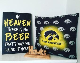 Iowa Hawkeye wood sign. Man cave. Iowa