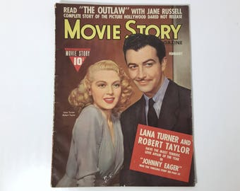 Vintage Movie Story Magazine February 1942 - Cover Lana Turner and Robert Taylor - Inside Lucille Ball, Gracie Allen, and Jane Russell