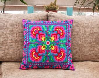Embroidered cushion cover, Hmong cushion, Thai cushion, boho decor, throw pilllow, bohemian decor, Hmong Hilltribe, colourful cushion
