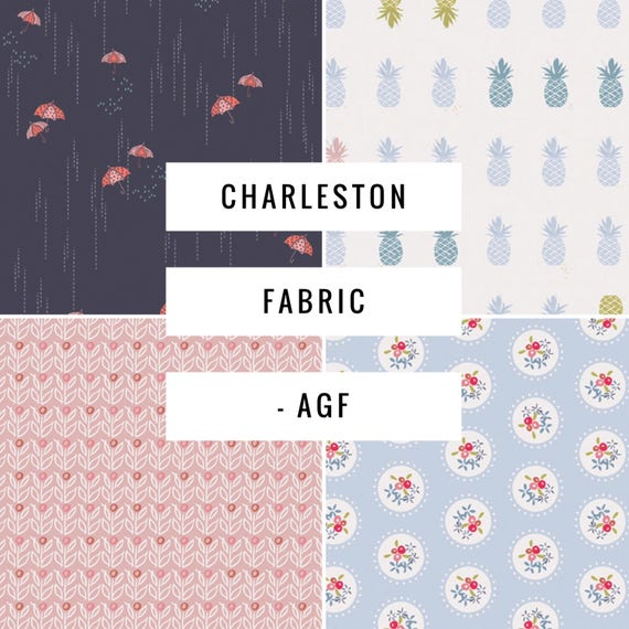 Charleston Fabrics - Art Gallery Fabrics - Fabric by the Yard - Rainbrella Shadow  - Ananas Powder  - Wallflower Azalea  - Pavilion Teacup
