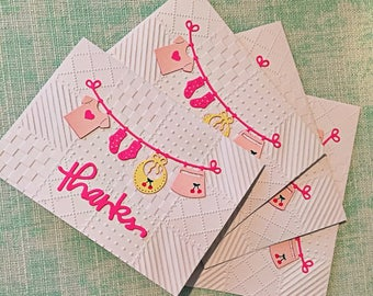Baby girl thank you cards / set of 4 with envelopes