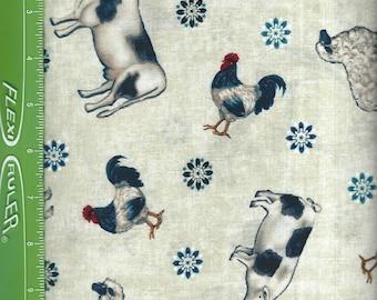 Heartland Farm animals,on natural,Studio fabrics