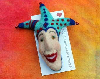 Needle felted brooch, collectible jester, OOAK, needle felted jester, clown, fibre arts, felting, jester gift, Woolly Felters, Judy Balchin