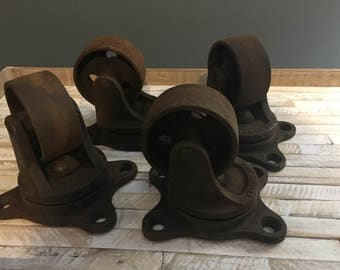 Antique Large Cast Iron Swivel Kwality Caster Wheels