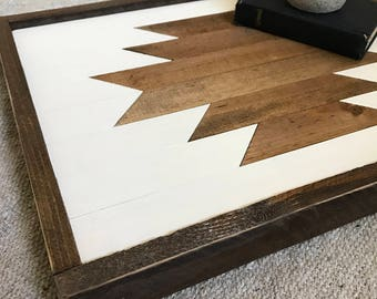 Wood stained aztec, frame, southwestern style, home decor