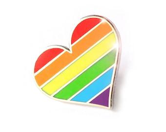 Pride pin, Rainbow heart enamel pin, lapel pin, LGBTQ pin, Gay accessories, Support LGBT pin, rainbow enamel pin