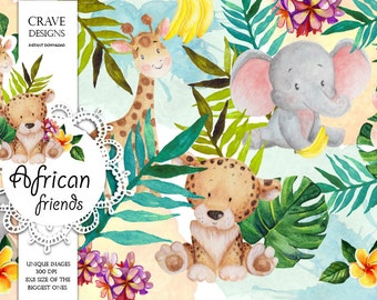 African Little Animals Watercolor Clip Art  Elephant, Giraffe, Tiger Floral Illustration